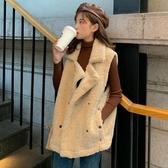 背心外套 秋冬韓版新款寬松加絨加厚仿羊羔毛西裝領時尚外穿背心甲女學生