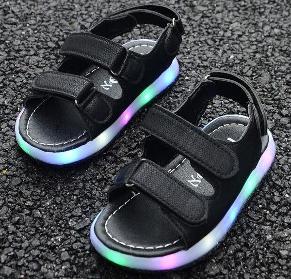 兒童涼鞋燈鞋露趾小孩防滑魔術貼