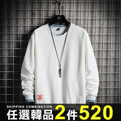 任選2件520ManStyle雙層圓領衛衣大學T休閒長袖上衣潮【08SB00111】