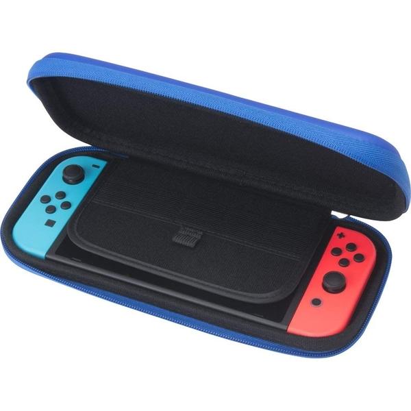 【玩樂小熊】現貨中 Switch主機 NS CYBER日本 Slim型半硬包 EVA 耐衝擊主機包 收納硬殼包附保護貼 藍色