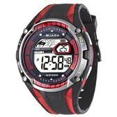 JAGA捷卡 多功能大視窗 冷光 電子錶 男錶 運動錶 學生錶 軍錶 黑紅色 M980-AG