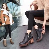 2020秋冬新款高跟粗跟韓版女鞋短靴英倫馬丁靴時尚女靴子學生裸靴 童趣