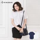 短袖襯衫--森林日系風格Simple純色棉麻短袖襯衫(白.藍XL-3L)-H267眼圈熊中大尺碼