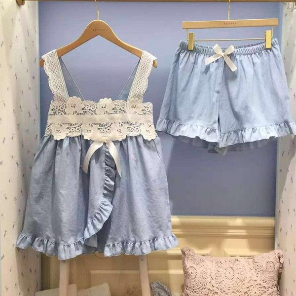 可愛刺繡豎條紋翻領單排扣長袖上衣+短褲睡衣三件套-11190057