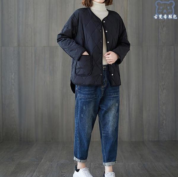 羽絨外套 冬季新款輕薄大碼棉衣女短款小個子時尚菱格寬鬆圓領棉服外套 - 古梵希