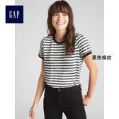 Gap女裝 休閒條紋時尚圓領短袖T恤 357891-黑色條紋