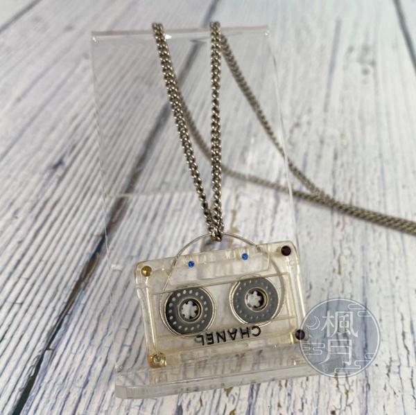 BRAND楓月 CHANEL 香奈兒 04年 透明壓克力 錄音帶吊墜 鑲鑽 水鑽 項鍊 飾品 配件