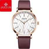 JULIUS 聚利時 舞彩戀曲皮錶帶腕錶-浪漫紫/38mm【JA-1114D】