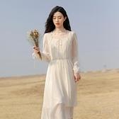 雪紡洋裝 甜美新款仙女超仙長裙 茶歇法式初戀系溫柔氣質雪紡連身裙女長裙