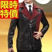真皮風衣-個性流行保暖明星同款長版男皮衣大衣62x22【巴黎精品】