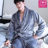 新款灰色男士睡袍加厚珊瑚絨秋冬睡衣浴袍法蘭絨浴衣冬天胖子大碼  潮流衣舍
