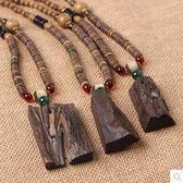 佛珠毛衣鏈雞翅木項鏈男女船木民族裝飾Dhh352【潘小丫女鞋】