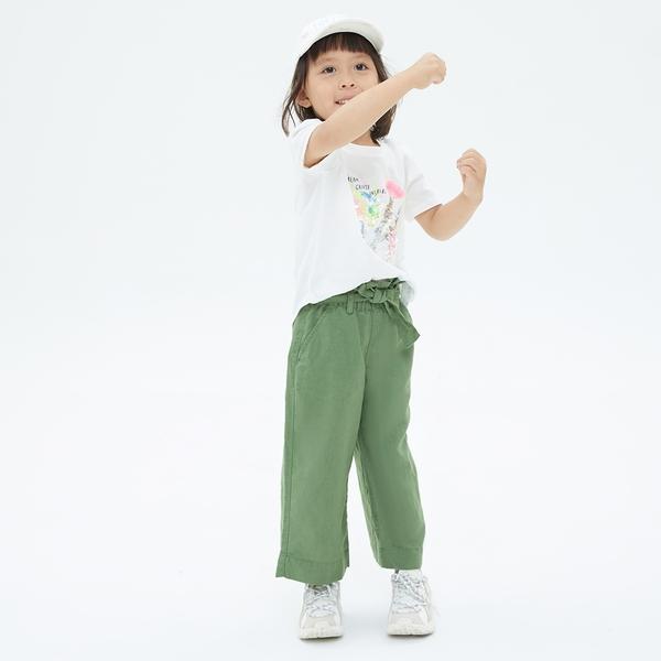 Gap女童 亞麻混紡腰帶休閒寬褲 685454-綠色