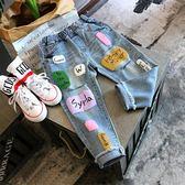 牛仔褲 春季新款中小童街頭撞色兒童長褲女童彩色字母寬鬆牛仔褲4097 Cocoa
