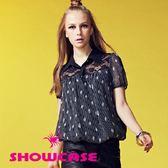 【SHOWCASE】肩蕾絲透膚拼菱格條紋短袖雪紡襯衫(藍)