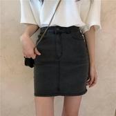 裙子女夏季新款復古百搭純色牛仔短裙高腰顯瘦半身裙包臀裙潮 亞斯藍