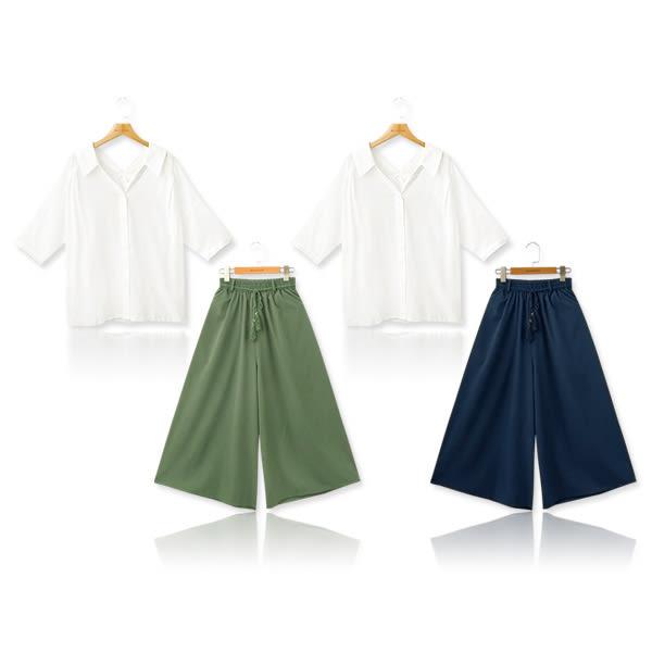 MIUSTAR 兩件式!雙V領隨性襯衫+小金牌流蘇綁帶滑面寬褲(共2色)【NF2852EX】預購