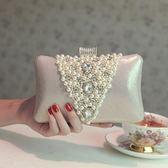 手拿包 時尚小包鑲鑽宴會包晚宴包旗袍包禮服手拿包女士手提珍珠包包【韓國時尚週】