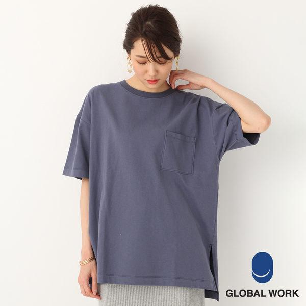 GLOBAL WORK女素色圓領落肩口袋下襬側開衩短袖T恤上衣-四色