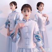 伴娘服中式長款姐妹團伴娘禮服裙合唱演出服女 三角衣櫃