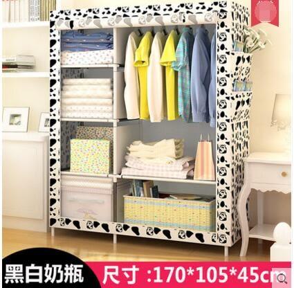 簡易衣櫃布藝特價布衣櫃鋼管加固鋼架衣櫥宿舍折疊收納櫃2
