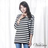 Victoria 條紋拼接寬鬆長版八分袖T-女-黑白條