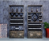 電子紅酒櫃 復古工業風展示櫃美式鐵藝紅酒架酒吧落地洋酒葡萄酒櫃酒杯置物架  WJ 解憂雜貨