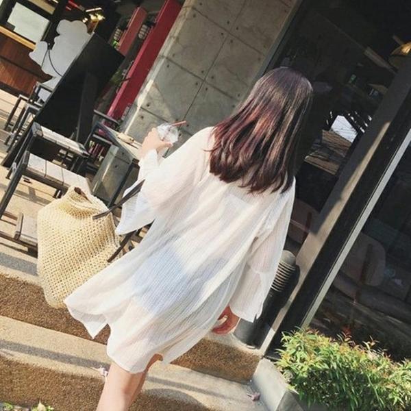 NSSY韓版蕾絲雪紡開衫女中長款薄外套長袖