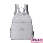 iBrand後背包 輕盈防潑水素色大口袋尼龍後背包-淺灰色 MDS-8502