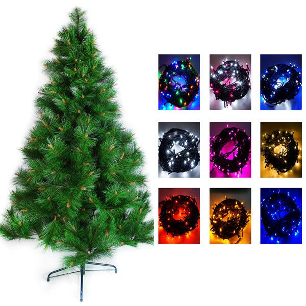 台灣製7呎/ 7尺(210cm)特級綠松針葉聖誕樹 (不含飾品)+100燈LED燈2串(附控制器跳機)  (本島免運費)
