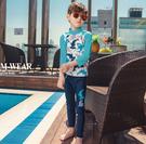 鯊魚滿印插肩防曬 長袖泳裝+長褲 二件式 防曬泳衣 水母衣 橘魔法 男童 兒童 水母褲 防曬 泳衣