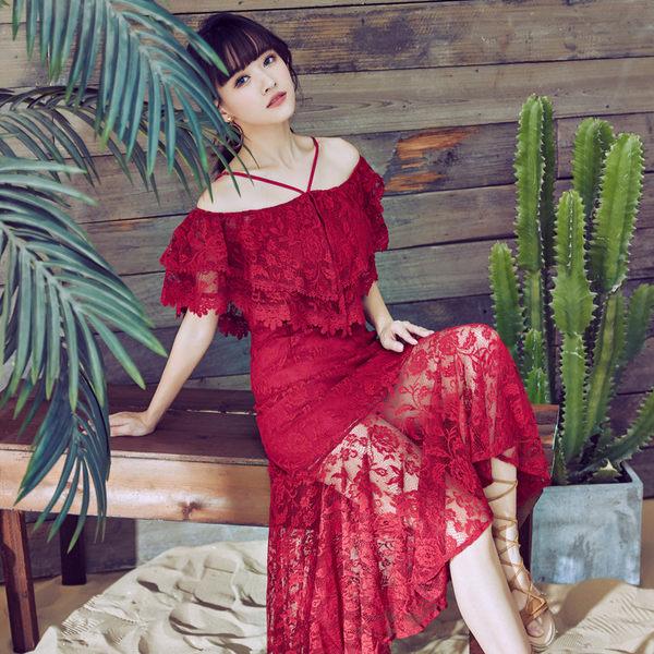 VK旗艦店 韓國風氣質修身顯瘦一字領紅色蕾絲禮服短袖洋裝