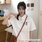 白色polo衫女寬鬆韓版短袖T恤2021新款夏季設計感日系短款上衣服 時尚芭莎