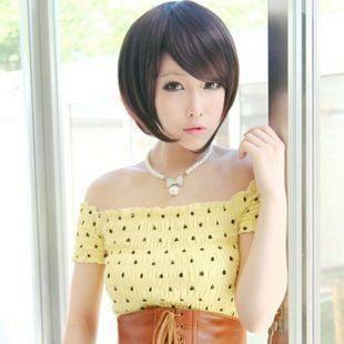 【WD】 W075 日系非主流斜劉海 氣質 修臉 女士短髮假髮 cosplay 高溫絲 每一頂都送髮網 鋼梳 俏麗