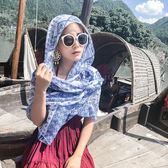 韓國外貿原單民族風圍巾超大防曬披肩 長款外搭絲巾女士百搭海邊紗巾沙灘巾