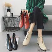 女新款粗跟方頭短靴  3色可選