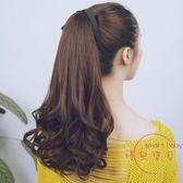 假髪馬尾 梨花捲馬尾假髪女 捆綁式長髪髮短髮捲馬尾假髪髮片短版 中秋鉅惠