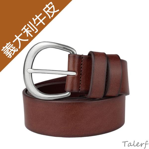 TALERF單層仿古牛仔皮帶(紅咖色/共2色)-女 /真皮 牛皮/台灣製造