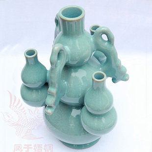汝瓷三星葫蘆原創手工陶瓷工藝品