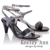 ★2018春夏★Keeley Ann摩登時尚~格紋雙腳踝帶真皮軟墊高跟涼鞋(黑色)-Ann系列