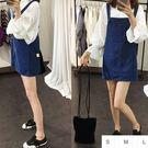 EASON SHOP(GU0812)藍色丹寧大口袋牛仔背心裙S-L韓版大碼修身牛仔吊帶裙短裙連身裙洋裝素色單色純色