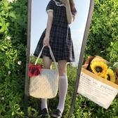 蕾絲大容量水桶手提草編編織女單肩包購物袋【時尚大衣櫥】