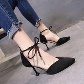 夏款涼鞋女仙女風時尚尖頭高跟鞋2019新款包頭女鞋氣質細跟ins潮 小宅女