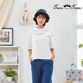 【Tiara Tiara】百貨同步新品aw  字母印花純色短袖T恤(白/藍/卡其)