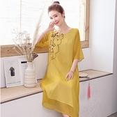 洋装 中大尺碼 連身裙新款女裝夏季中國風棉麻顯瘦文藝繡花民族風寬鬆假兩件長裙
