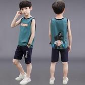 男童夏裝背心短褲套裝速幹新款中大童男孩洋氣無袖兩件套運動 快速出貨