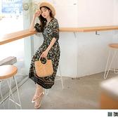 《DA8434-》涼爽滿版印花高腰傘襬五分袖洋裝 OB嚴選