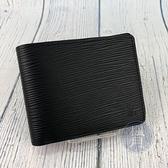 BRAND楓月 LOUIS VUITTON LV 路易威登 M60662 黑色 經典 水波紋 皮革 對折 短夾 錢包