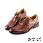 SCONA 蘇格南 全真皮 都會免拆綁帶紳士鞋 棕色 0859-2