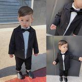 嬰童裝春裝1-3歲周歲寶寶衣服 男童花童禮服條紋小西裝外套